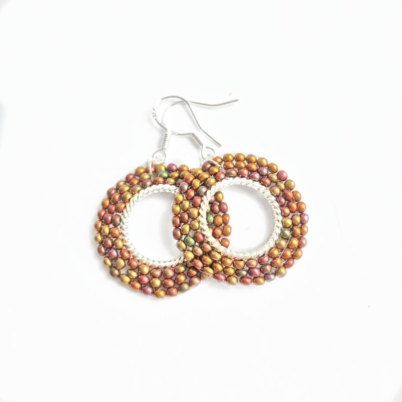 Brown Hoop Earrings Beaded Dangle Earrings Beaded Hoops image 0