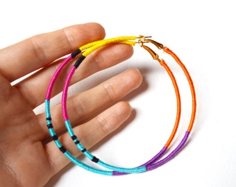 African Earrings, Tribal Hoop Earrings, Large Hoop Earrings, Bright Earrings, Thread Wrapped Jewelry UK