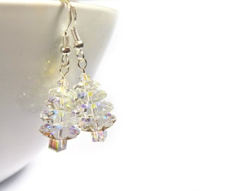 Swarovski Christmas Tree Earrings, Novelty Christmas Earrings, Swarovski Crystal Stocking Filler UK