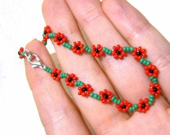 Poppy Friendship Bracelet : Beaded Poppy Bracelet, Seed Bead Bracelet, Red Flower Bracelet, Floral Bracelet UK Seller