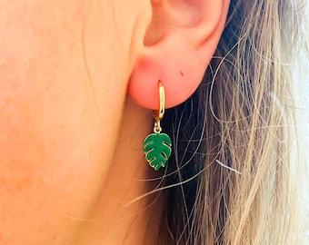 Monstera Leaf Earrings, Tropical Plant Earrings, Huggie Hoop Earrings, UK Seller, Stocking Filler Idea, Under 20