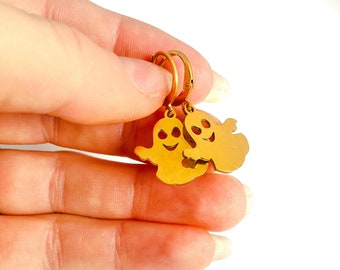 Hypoallergenic Ghost Earrings, Gold Stainless Steel Halloween Earrings, Spooky Earrings, Halloween Jewelry Made in Britain