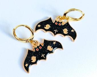 Cute Bat Earrings, Halloween Earrings, Spooky Earrings, Bat Jewelry, UK Gifts Under 15