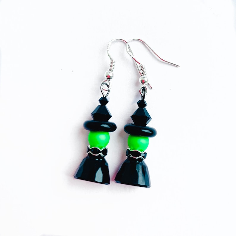 Swarovski Witch Earrings Dangly Halloween Earrings Wicked image 0