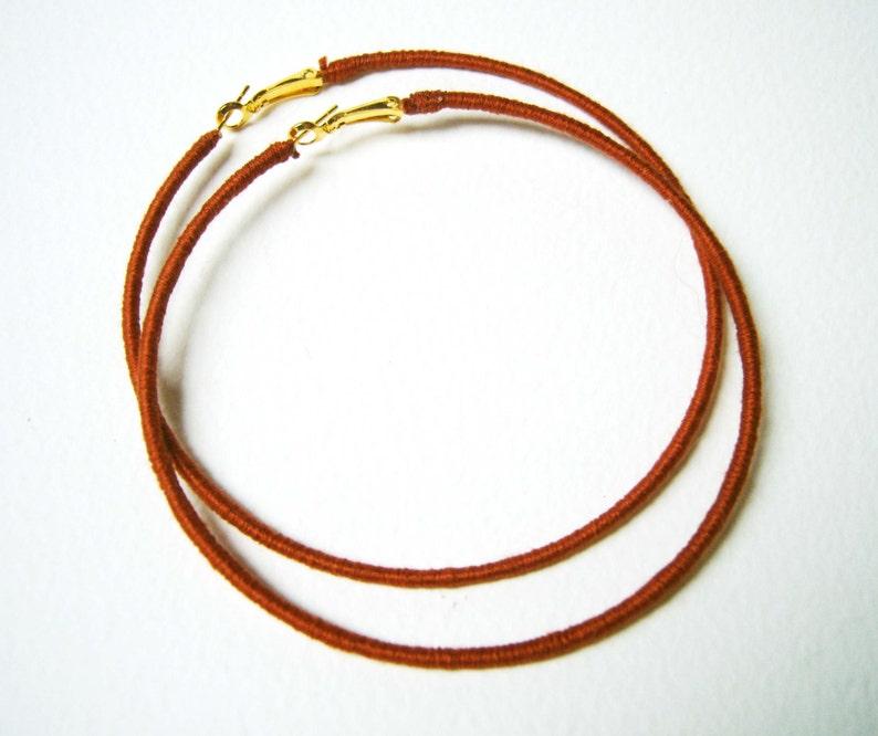 Thread Wrapped Hoops Brown Hoop Earrings Large Hoop image 0