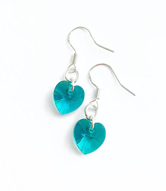 Teal Swarovski Heart Earrings Dangly Heart Earrings Petrol  650cfaa58f
