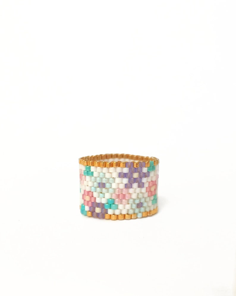 Beaded Flower Ring Seed Bead Ring Floral Ring Novelty Ring image 0