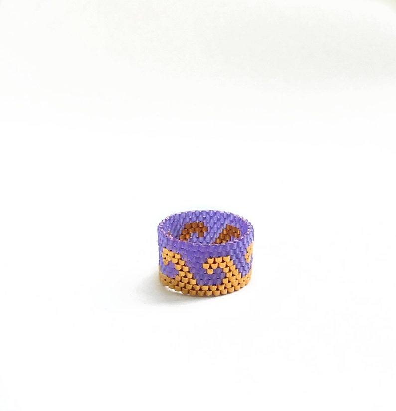 Purple Wave Ring Lilac Bead Ring 24K Gold Beaded Ring Beach image 0