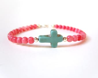Turquoise and Coral Bracelet, Sideways Cross Bracelet, Turquoise Cross Beaded Bracelet, Pink Coral Jewelry UK