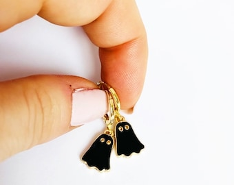 Black Ghost Earrings, Halloween Earrings, Spooky Earrings, Halloween Jewelry, Cute Ghost Huggie Hoop Earrings, Ghost Jewelry UK