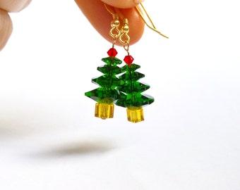 Christmas Tree Earrings, Genuine Swarovski Christmas Earrings, Stocking Stuffer For Her, Festive Gifts, UK Seller
