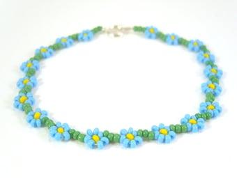 Forget Me Not Bracelet, Blue Flower Bracelet, Daisy Chain Bracelet, UK Seller