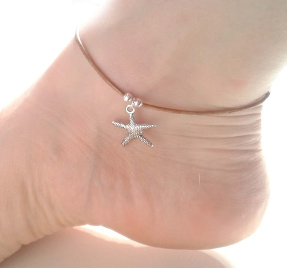 Starfish Charm Anklet Brown Leather Ankle Bracelet Silver Etsy