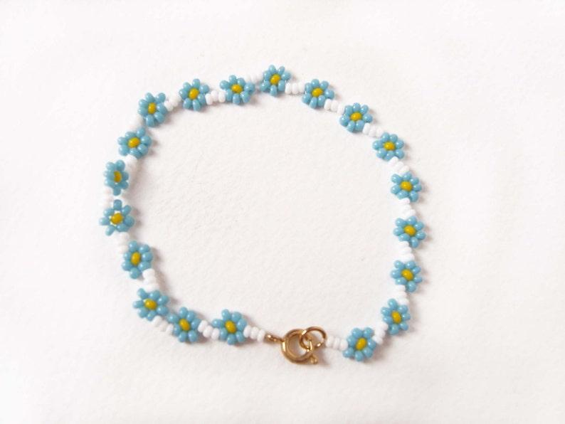 Forget Me Not Jewelry UK Blue Flower Bracelet Blue Daisy Chain Bracelet Bead Woven Flower Bracelet