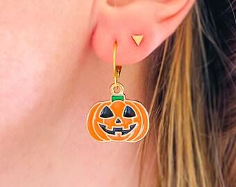Dangly Pumpkin Earrings, Spooky Halloween Earrings, Stainless Steel Earrings, Autumn Earrings, Halloween Jewelry made in Britain
