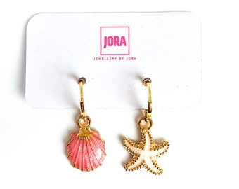 Beach Earrings, Shell Earrings, Mismatched Earrings, Shell and starfish Earrings, Gifts Under 15 In The UK