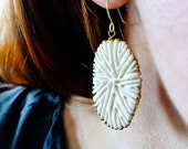Coral Eclipse Earrings - porcelain scuplted faux coral dangles rimmed with 20kt gold luster
