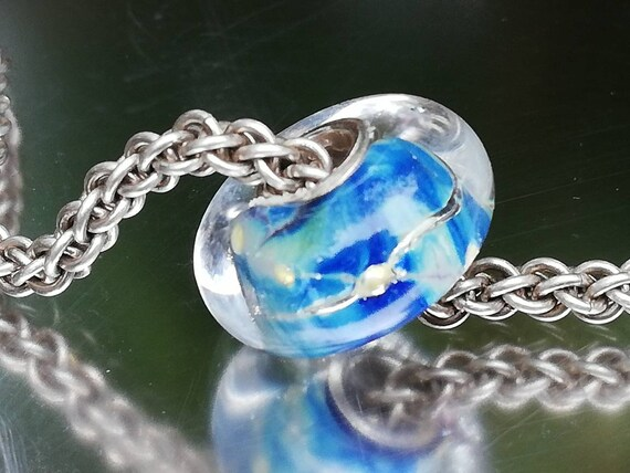 Deep-Blue CZ Charm Bead Fit European Bracelet Jewelry Calvas Authentic 925 Sterling Silver Ocean Treasures