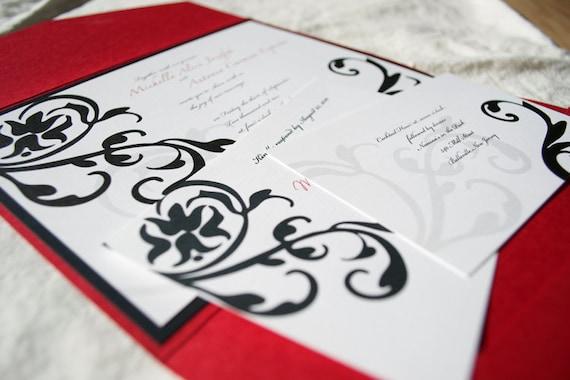 Damask Wedding Invitation Set Modern Wedding Invite Red and Black Wedding Invitation Suite