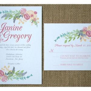 Boho Flowers Wedding Invitation Boho Vintage Style Spring Colors Romantic Flowers Calligraphy Font Garden Barn Wedding Invite