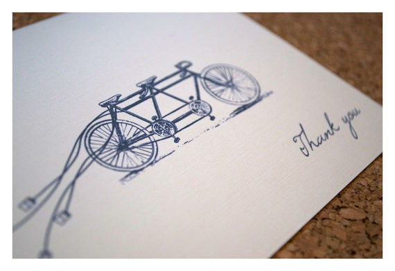 Tandem Bike Wedding Invitations: Thank You Note Cards For Tandem Bike Wedding Invitations