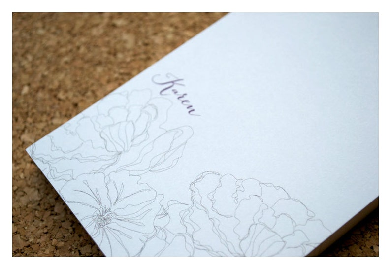 Personalized Note Pad Line Art Flowers Stationery Notepad Vintage Flower Note Pad Vintage Sketched Flowers Personalized Notepad