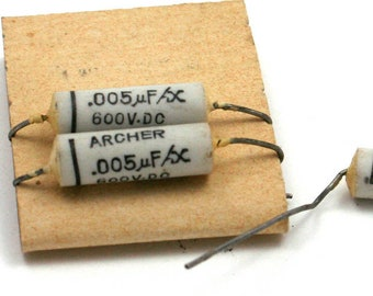 steampunk art craft supply Vintage capacitor .002 mfx uf 600v dc Archer audio electronics radio electrical parts unused new old stock NOS