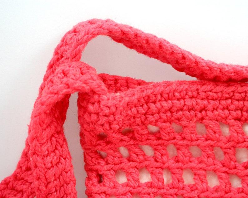 coral pink handmade hippie handbag openwork yarn satchel shoulder book bag Vintage 1970s boho orange crocheted bag women girl teen tote