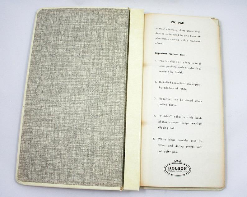 tall scrapbook film prints 3x4 photo sleeves Vintage 1960s Pik Pak photo album mid century photographs tall slim cream photograph book
