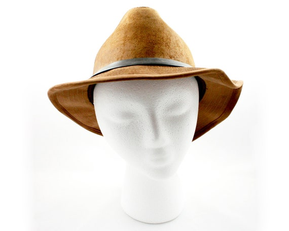 61c92241527 Vintage brown suede leather fedora size large 22