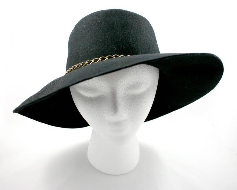 9a4f5853dae Vintage 1950s womens black wool felt floppy hat size small