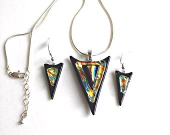 VENUS Cosmic Sci-Fi Jewelry Pendant Necklace and Dangle Earring Set, Dichroic Fused Glass, Silver Plated, One of A Kind
