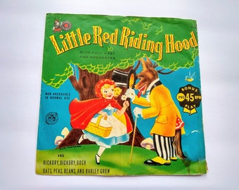 Little Red Riding Hood , Hickory Dickory Dock , Oats Peas Beans and Barley Grow , Vintage 45 RPM Record for Kids Playtime Entertainment