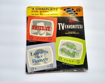 TV Favorites Shows Maverick , LEAVE It To BEAVER , Woody Woodpecker , Vintage 45 rpm Golden Record EP492 , Classic Television  , Rare 1958