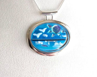 SUNNY OCEAN BEACH Pendant Necklace , Dichroic Fused Glass Jewelry , Silver Plated, Special Gift for Sea & Beach Life Nature Lovers