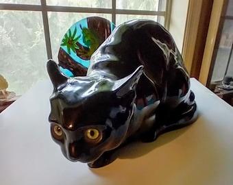 Wiener Kunstkeramische Werkstatten BLACK CAT Earthenware Nightlight With Green Glass Eyes , Factory Marked Rare Austrian Antique Sculpture