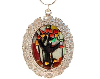 AUTUMN FALL TREES Pendant Necklace, Dichroic Fused Glass Jewelry for Nature Lovers and Hikers, Silver Plated , Colorful Fall Fashion Jewelry
