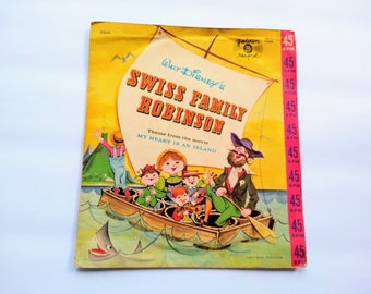 """SWISS FAMILY ROBINSON Movie Theme """"My Heart Is An Island"""" Vintage Children's 45 rpm Record , Disney Fairytale Music For Children , Wall Art"""