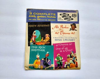 ALI BABA And The 40 THIEVES , Bing Crosby Story and Songs , Children's  Classic Fairytale Musical , Vintage Little Golden Records EP444
