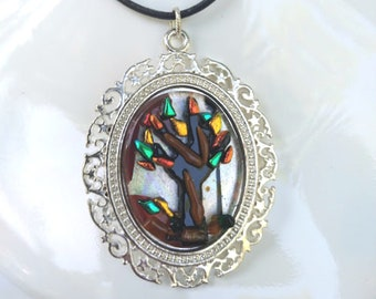 FALL DAY TREES Colorful Autumn Leaves Pendant Necklace for Nature Lovers, Dichroic Fused Glass , Silver Plated , Fashion Jewelry for Fall