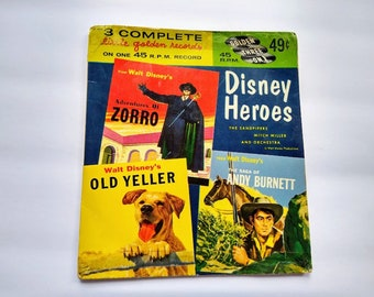 DISNEY HEROS TV Theme Songs , Zorro , Old Yeller , Andy Burnett , Vintage 45 rpm Golden Record EP485 , Classic & Western Television Shows
