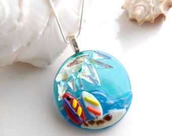 SURFS UP Surfboard Jewelry Pendant Necklace, Dichroic Fused Glass, Unique Gift for Surfers, Beach and Ocean Lovers, Silver Plated