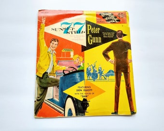 77 Sunset Strip and Peter Gunn Theme Music From Favorite Classic TV Series , 1959 Vintage 45 rpm Golden Record EP576  , Henry Mancini , Rare