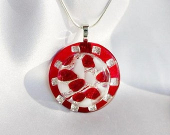 Holiday Jewelry Necklace PEPPERMINT CANDY Festive One of a kind Glass Pendant Necklace / Christmas Holiday Birthday Gift / Glass Art