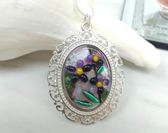 AFRICAN VIOLETS Jewelry Pendant & Necklace , Dichroic Fused Glass , Silver Plated , Special Gift For Flower Lovers , Nature Garden Lover