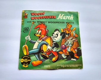 WOODY WOODPECKER MARCH Vintage 1958 Children's 45 rpm Record, Cricket Records C-110 , Colorful Bright Playtime Cartoon Classic Kids Music