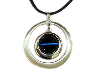THIN BLUE Line Police Ladies Jewelry Pendant Necklace, Dichroic Fused Glass, Special Gift For EMS & Law Enforcement, Silver Plated