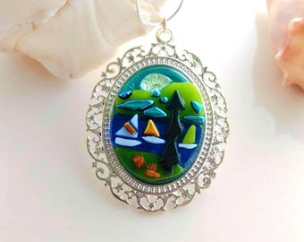 SAILING SUMMER LAKE Jewelry Pendant Necklace for Nature Lovers, Campers Boaters & Sailors, Dichroic Fused Glass, Silver Plated