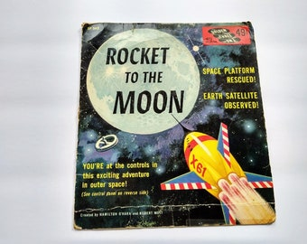 ROCKET To The Moon , Vintage 45 rpm Golden Record EP562 , Astronaut Outer Space Mission Interactive Playtime Activity for Boys , Rare 1960s