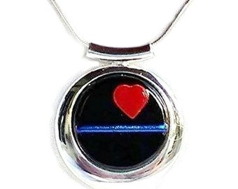 THIN BLUE Line Police Ladies Jewelry Pendant Necklace, Red Heart Fused Glass, Love Gift For Women in Law Enforcement, Silver Plated